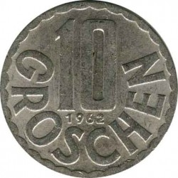 Австрия 10 грошей 1962