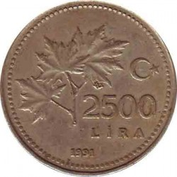 Turkey 2500 Lira 1991